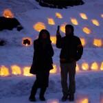 青根温泉の冬の風物詩となっている、雪あかり