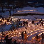 青根雪あかりでは1000基以上の雪灯ろうが並びます。